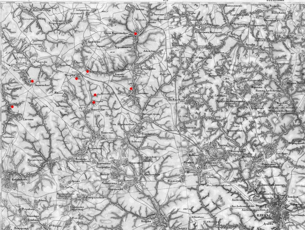 рис. 12 Северная часть Елецкого уезда с метками Бунинских мест